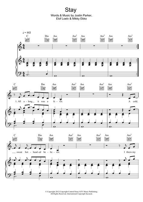 Unfaithful Piano Chords