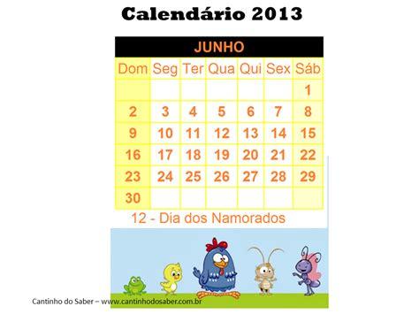 Calendários mês de junho ~ EDUCANDO COM AMOR 2013