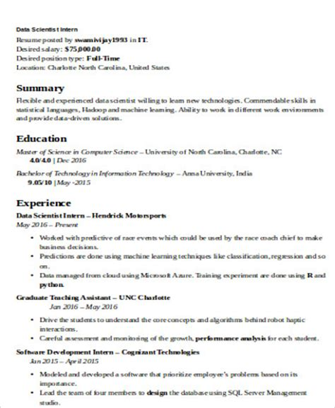 Data Scientist Resume Skills by Sle Data Scientist Resume 7 Exles In Word Pdf