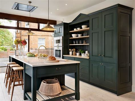 white accent cabinets with doors indigo paint kitchen traditional with open storage
