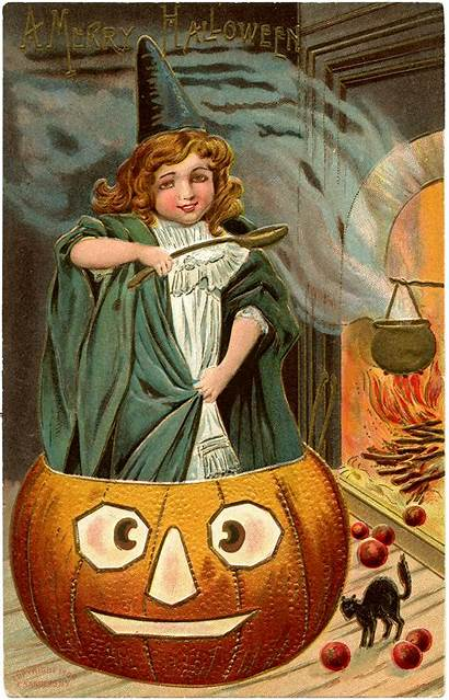 Halloween Witch Pumpkin Witches Fairy Postcards Thegraphicsfairy