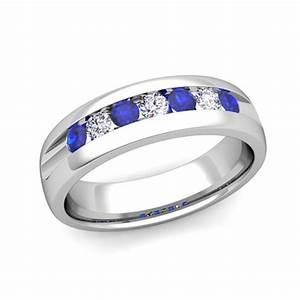 Mens Wedding Band In Platinum Channel Set Diamond Sapphire
