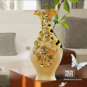 High Quality Jingdezhen Ceramic Gold Plating Vase For Home