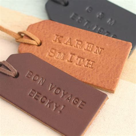 Personalised Handstamped Leather Luggage Tag Posh Totty