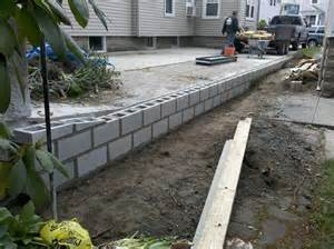 Concrete Cinder Block Retaining Wall