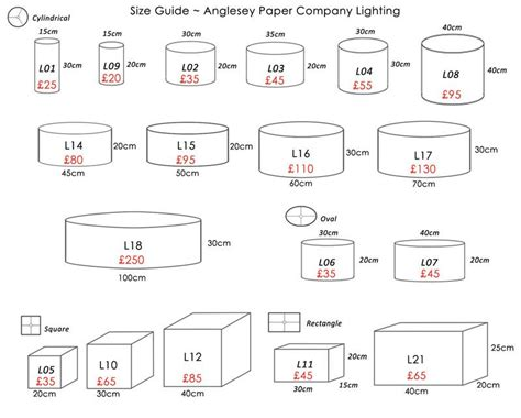 l shade size guide made to order l shades anglesey paper company