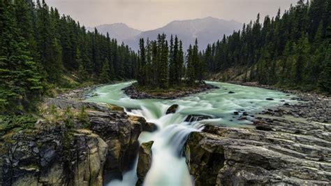 Canada Jasper National Park Alberta Falls On Sunwapta