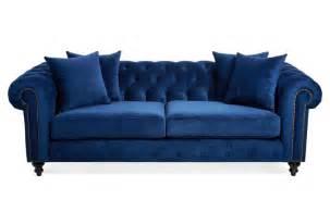 maria 90 quot tufted velvet sofa blue