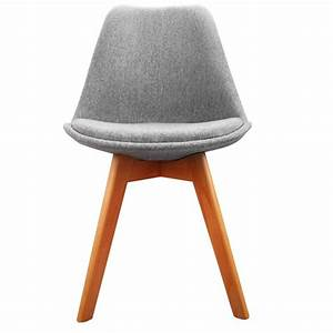 2x Replica Eames Padded Fabric Dining Chairs Grey Buy