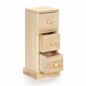 Small Wood Cabinet Tower with Three Drawers