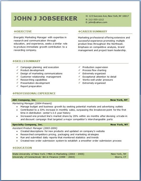 Professional Resumes Templates by Free Professional Resume Templates To