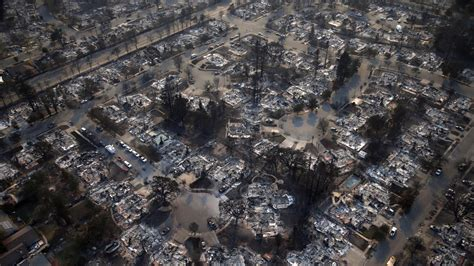 drone footage shows  city  ruins  california fires