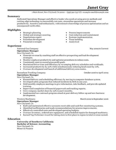 resume format for manager operations operations manager sle resume sle professional