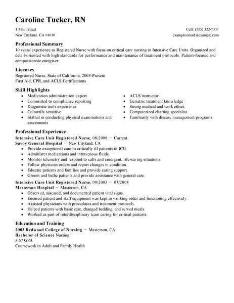 Registered Professional Summary by Best Intensive Care Unit Registered Resume Exle