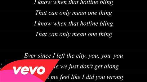 phone lyrics hotline bling lyrics