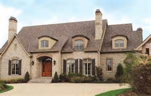 French Country Brick and Stone Exterior