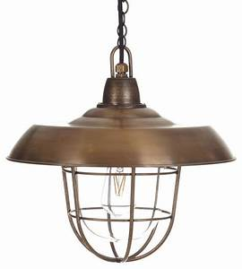 Tilbury pendant light in antiqued brass industrial