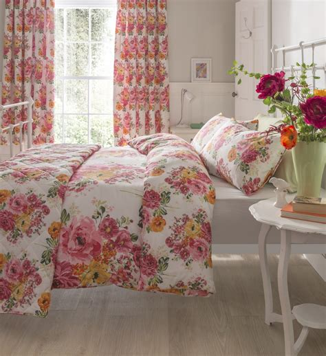 shabby chic floral bedding floral quilt duvet cover bedding bed sets 3 sizes polycotton shabby chic new ebay
