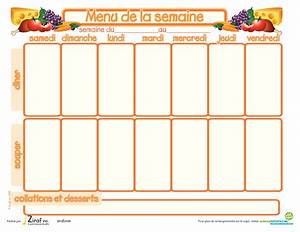 Cuisiner Pour La Semaine : mod le de menu de la semaine imprimer planning de repas ~ Dode.kayakingforconservation.com Idées de Décoration