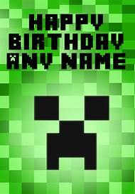 Minecraft Happy Birthday Card Printable