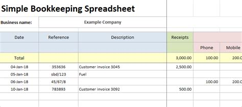 simple bookkeeping spreadsheet entry bookkeeping
