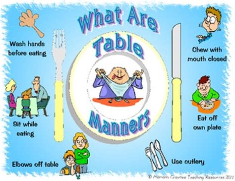 table manners placemat  marions creative teaching