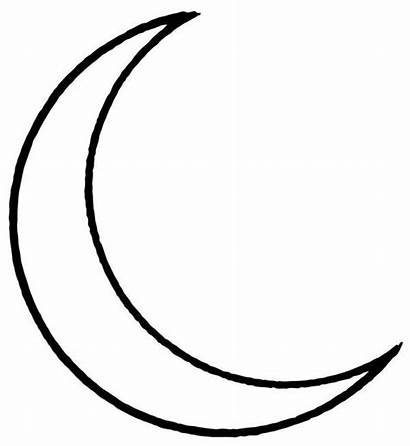 Moon Coloring Drawing Printable Half Crescent Pages