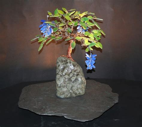 blue wisteria stained glass bonsai tree table lamps