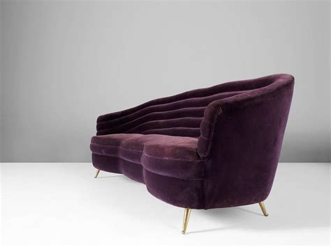 italian purple velvet sofa for sale at 1stdibs