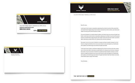 military business card letterhead template design