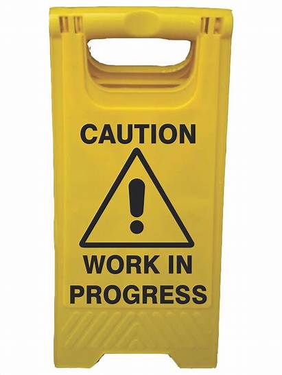 Progress Caution Signs Workers Frame Above Safety