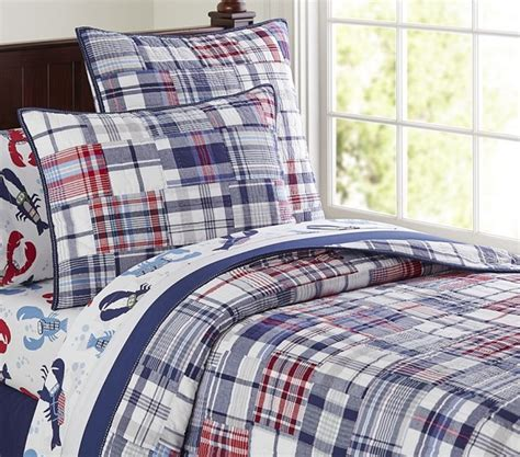 nwt pottery barn kids navy madras quilt sold out ebay