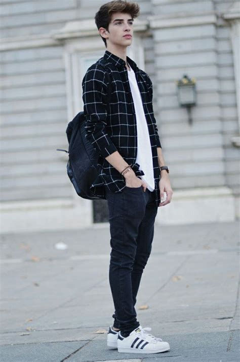 checked shirt blue trousers teenager boys style spring