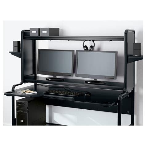 bureau gamer ikea fredde workstation black 185x146x74 cm ikea