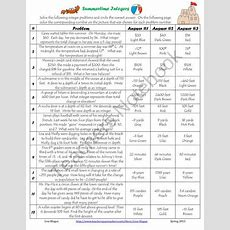 Free All Operation Integer Word Problems Summertime Coloring Activity From Leighsuh16 On