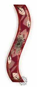 Wanduhr Aus Glas : design wanduhr aus glas 50x8cm violett winter leaves glasuhr unikat levandeo ~ Buech-reservation.com Haus und Dekorationen