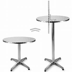 table de bar haute 2en1 alu hauteur reglable et pliable With hauteur table de jardin