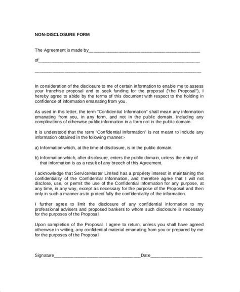 Free Non Disclosure Agreement Template by Standard Non Disclosure Agreement Form 19 Exles In