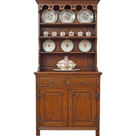 farmhouse oak vaisselier welsh dresser china hutch cabinet small  aa  ruby lane