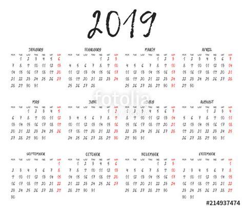 simple calendar grid calendar template week starts monday