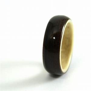ebony wood wedding ring with horse chestnut liner With horse wedding ring