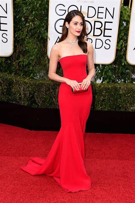 Emmy Rossum Strapless Red Mermaid Formal Dress Golden
