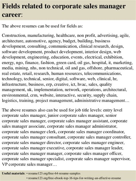 top 8 corporate sales manager resume sles