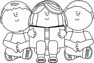 Black and White Kids Reading Clip Art - Black and White ...