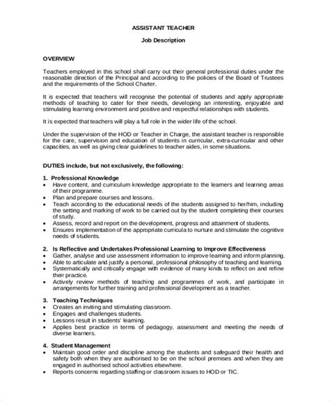 sample teacher job description templates  ms