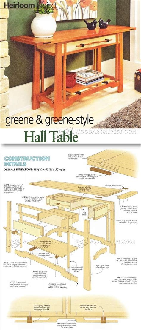 hall table plans furniture plans  projects