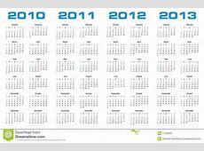 Calendar For 2010 Through 2013 Stock Vector Image 11598507