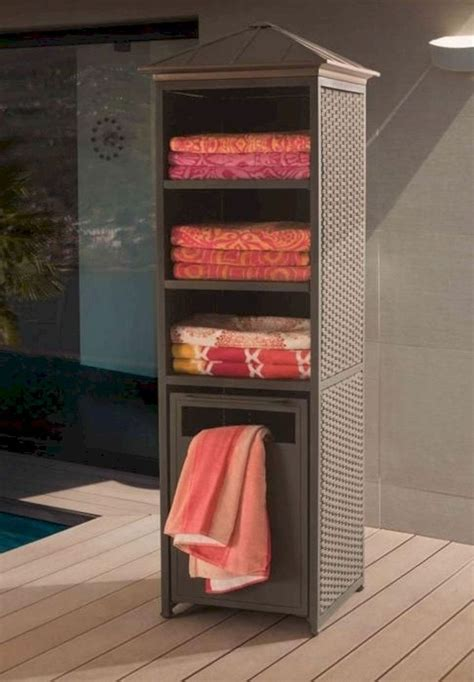 awesome pool furniture ideas pool towel storage pool