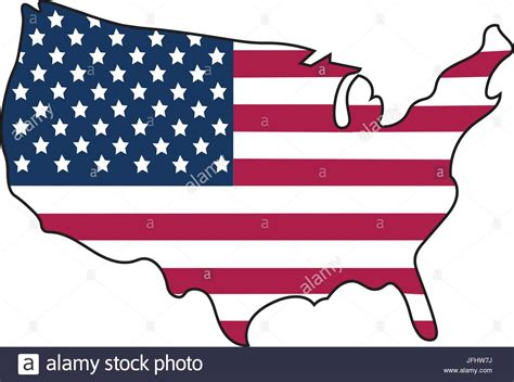 American Flag In Shape Of The United States Of America In