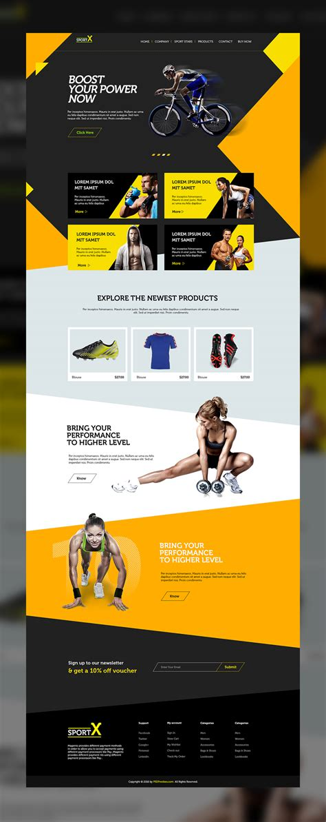 sports templates sports shop website multipurpose free psd template psdfreebies